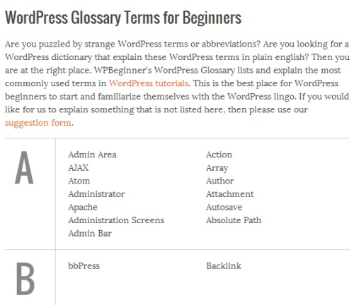 WordPress-glossary